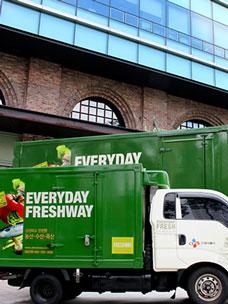 CJ프레시웨이 트럭들이 서 있는 모습