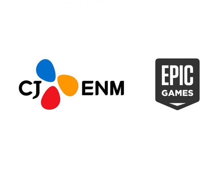 CJENM 로고와 에픽게임즈 로고