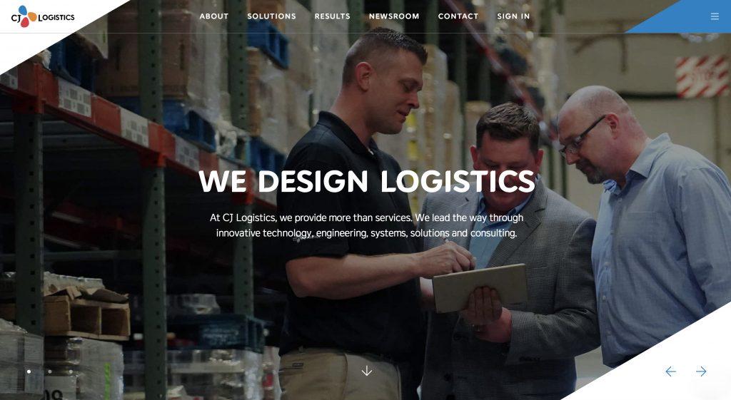 品牌整合为'CJ Logistics'的CJ物流美国综合子公司官网首页(america.cjlogistics.com)